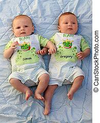 gemelo, bebé, niños