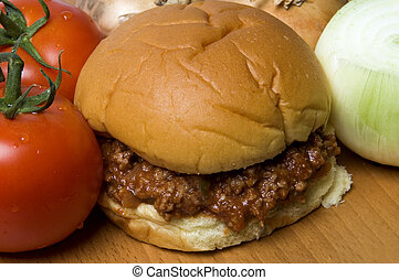 sloppy joe sandwich with tomatoes onions - sloppy joe...