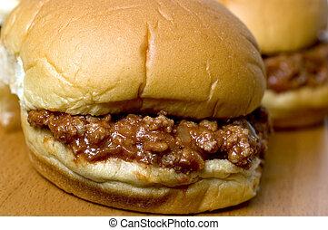 sloppy joe sandwich with tomatoes onions - sloppy joe...