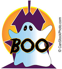 Ghost and BOO - A ghost in front of a silhouette of a...