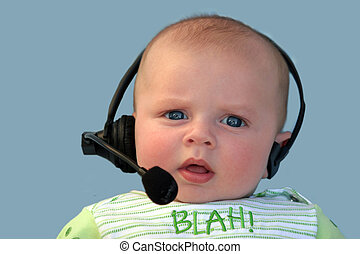 Baby with a headset