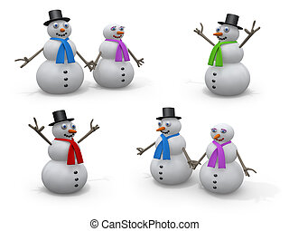 Holidays - Snowmen - Computer generated image - Holidays -...