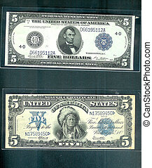 OLD,OLD CASH - One 1914 $5.00 bill and an 1899 $5.00 bill....