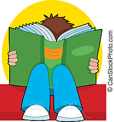 Young Boy Reading - Young child reading a big book on his...