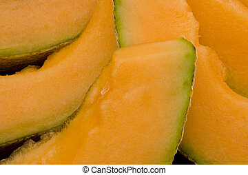 Cut Cantalope - Close up shot of cantaloupe (muskmelon) cut...