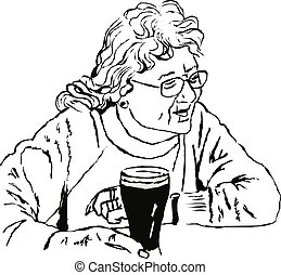 woman with a pint
