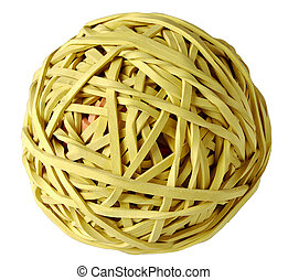 Elastic ball - Yellow lastic ball, white backgound objetc