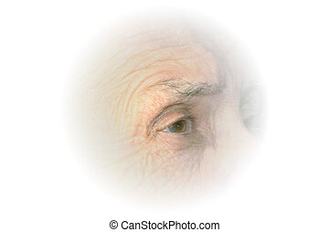Elderly Eye Vignette - White vignette of right eye in...