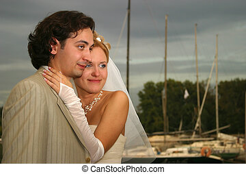 Newly-married couple - Recently married pair in yacht - club