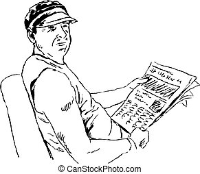 reading the news - sketchy drawing style illustration of a...