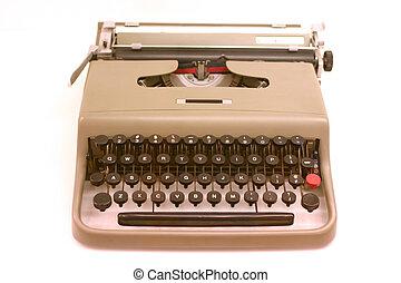 old typewriter - old-fashioned typewriter on white ground