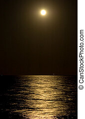 Moonlight Path - Long exposure of the moon and the path it...