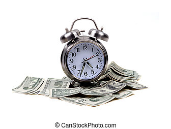 Objects - Time and Money - An isolated alarm clock places...