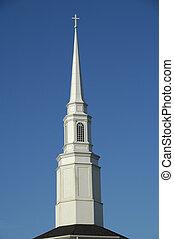 Church Steeple - White Church Steeple against a blue sky