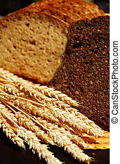 Rye bread - Two types of rye bread with rye ears