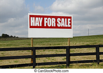 Hay For Sale - Large Hay For Sale Sign on Fence