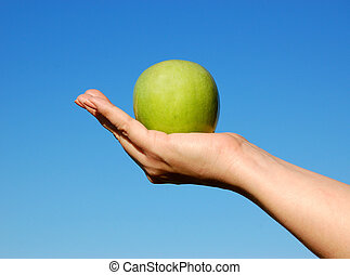 Offering an apple to a friend. Symbolizes helping or giving