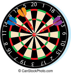 Dartboard with three darts in the bullseye