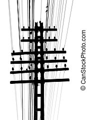 Telegraph - Isolated telegraph pole and wires on white