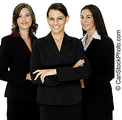 Business Team - A young business team of three professional...