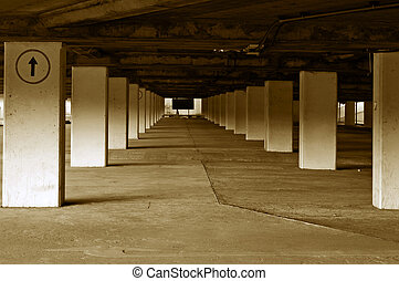 Empty carpark - An empty and bare underground carparking lot