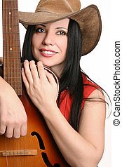 Female musician with her guitar - Beautiful country musician...