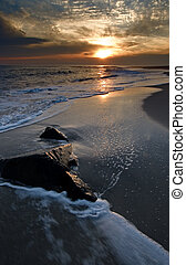 Sunset on the beach - Sunset at the Cape May beach New...