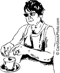 tea lady - sketchy drawing style illustration of a woman...