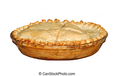 Home made Apple Pie - Fresh baked whole apple pie isolated...