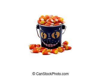 Halloween - Bucket of Candy Corn - A black cat bucket...