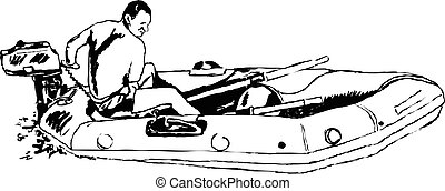 dinghy guy - sketchy drawing style illustration of a young...