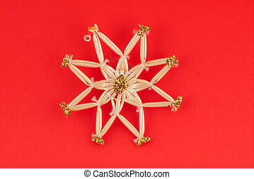 Isolated christmas decoration on red background Octagon