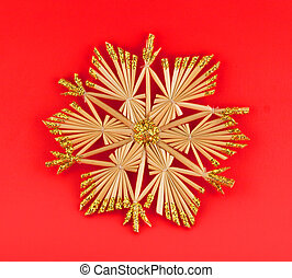 Isolated christmas decoration on red background (snow flake,...
