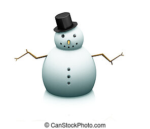 Snowman - 3D render of a snowman on a white background