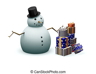 Snowman with presents - 3D render of a snowman next to a...