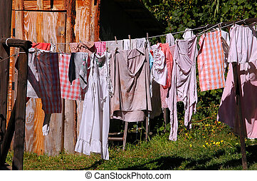 Laundry hanging on line in rural setting