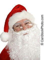 Smiling Santa Portrait - A closeup portrait of a smiling,...