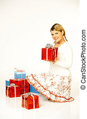 Christmas Gril - Young beautiful woman with presents...