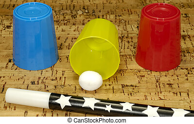 Magic Trick - Photo of a Magic Wand and Magic Cup and Balls