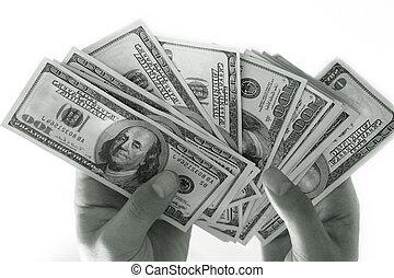 Dollars - 2000 $ in mans hands