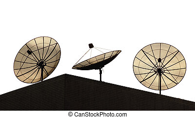Satellite dishes - Three satellite dishes on a hotel roof...