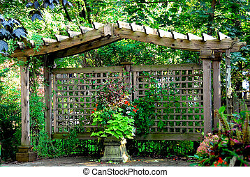 Japanese garden - Lush japanese garden with wooden gate...