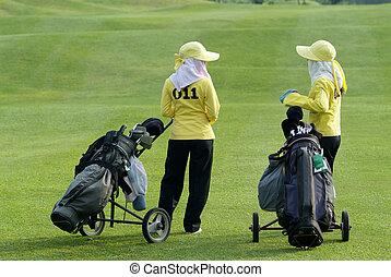deux, caddies, golf, cours