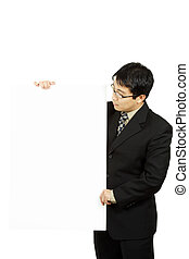 Presentation - A businessman carrying a blank display card
