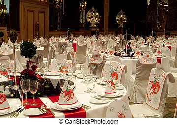 Party tables - Tables prepared for a big party at a luxury...
