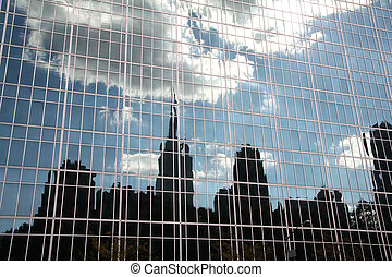 New York Skyline Reflection in Glass Building
