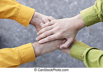 united hands - focus point on the hands