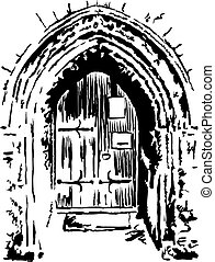 church doorway - rough sketchy style drawing of an ancient...