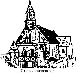 ancient church - rough sketchy drawing style illustration of...