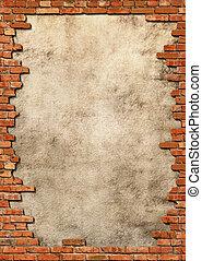baksteen, muur, grungy, frame